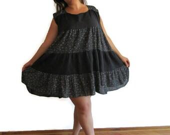 Layered Dress, Women's Large flowers dress, ladies cotton dress, black white dress, women's  black dress, Summer Dress,  Upcycled clothing