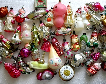 Retro Christmas Decor Glass Baubles Ornaments Decorations set of 50 1960s from Russia Soviet Union
