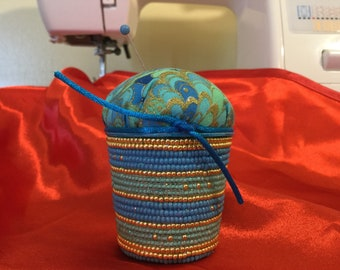 Kcup pincushion, blue, green, gold