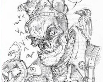 Original sketch drawing on random paper Zombie wearing a Rat Hat by Michigan artist Dennis A!
