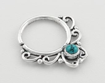 Turquoise septum ring. gold septum ring. gem septum. gold septum. septum piercing. tribal septum ring. turquoise septum. septum jewelry.