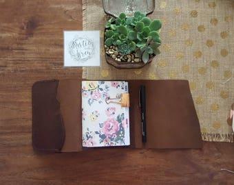Travelers Notebook WILD BROWN,Supreme Tri-Fold, Leather Journal,Travel Journal, Australian Leather, Teacher Diary