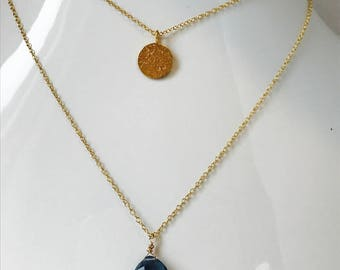 London Blue Topaz Necklace , Layering Necklace, December Birthstone, Charm Necklace, Gemstone Necklace