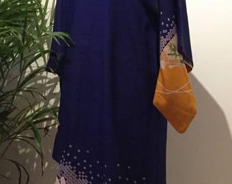 Cobalt blue vintage silk kimono