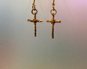 Sterling Silver and 14k Gold dangle cross earrings