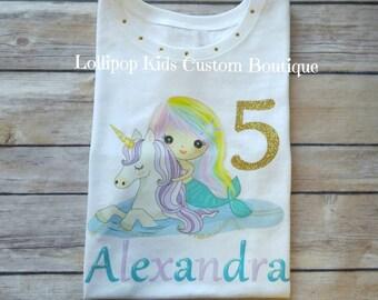 Unicorn and Mermaid...white short sleeve Birthday Shirt*