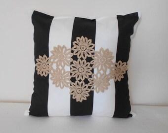 Black and White Pillow Cover, Striped Throw Pillow, Decorative Pillow, Crochet Pillow, Designer Pillow, Modern Pillow, Lace Pillow Case