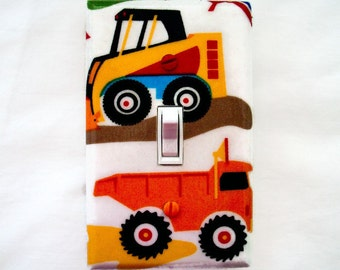 Truck Switch Plate Cover - Construction Trucks Light Switch Cover - Boys Nursery Light Switch Cover - Toddlers Bedroom - Truck Room Decor