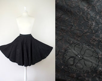 vintage 1950s 50s black taffeta circle skirt w/ soutache and lace overlay