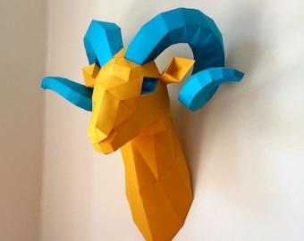 Ram Head Aries Trophy Papercraft Faux Taxidermy Wall Mount, Printable PDF DIY Paper Model Rams Head