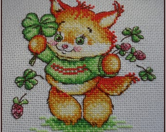 St. Patrick Day Cross Stitch FINISHED Unframed Luck Clover Shamrock Fox Lucky Irish Cross Stitch Embroidery Finished Unframed
