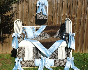 Light Blue Chocolate Brown Minky Dot Satin Vintage Style Baby Boy Bedding Premier Over stuffed bumpers Bows Gorgious Soft Handmade toddler
