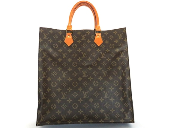 Authentic Louis Vuitton Monogram Canvas Leather Sac Plat Tote Bag Handbag by Etsy