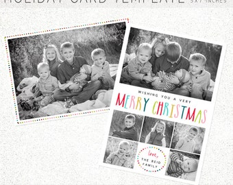 HOLIDAY CARD TEMPLATE, Holiday Card, Christmas Card, Christmas Card Template, 5X7 Photoshop Template, Instant Download