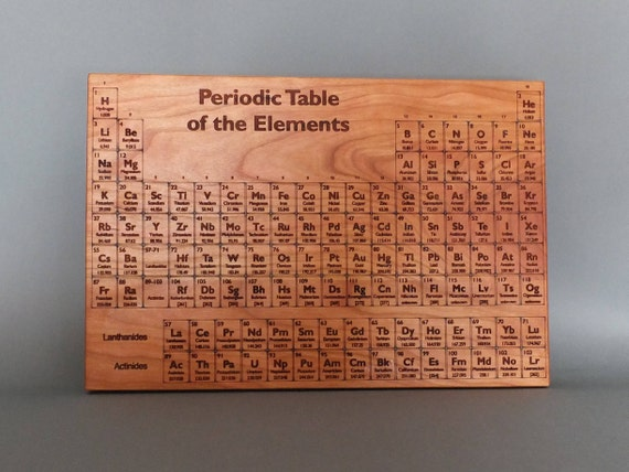 Periodic Table Cutting Board. Periodic Table Engraved on Maple, Walnut, Cherry or White Oak Wood.