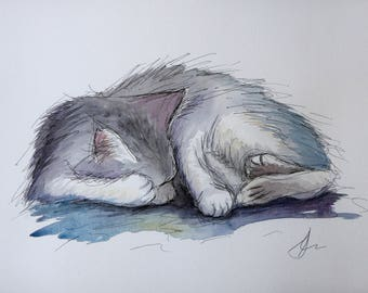 Cat Sleeping Original Watercolour Painting