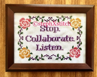 Stop Collaborate Listen Framed Cross Stitch Wall Art Vanilla Ice Subversive Funny Crossstitch