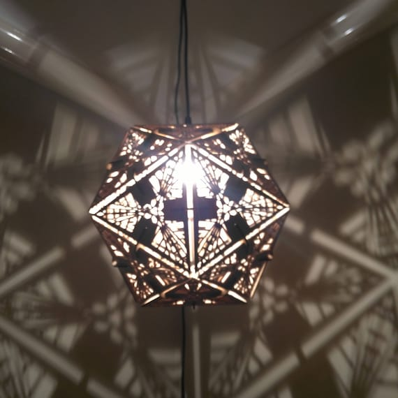 Icosahedron hanging pendant shadow lamp geometric lighting wood lamp