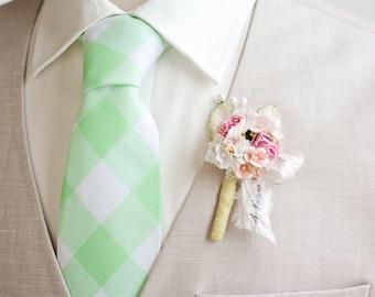 """Necktie, Mens Necktie, Neck Tie, Groomsmen Necktie, Ties, Tie, Wedding Neckties, Mint Necktie, Gingham Necktie - 1"""" Mint Green Gingham Check"""