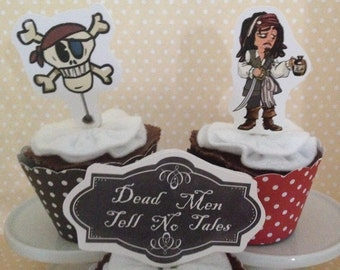 Pirates of the Caribbean, Captain Jack Sparrow Party Cupcake Topper Decorations - Set of 10