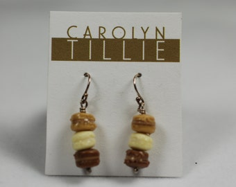 Miniature Macaron Dangle Earrings - polymer clay and sterling silver