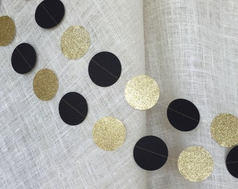 50th Anniversary Decorations, Wedding Decor, Party Decor, Black and Gold Decor,Paper Garland, Party Decor