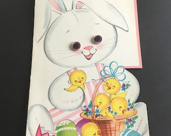 Vintage Easter Greeting Card, Bunny & chicks, googly eyes, large size, Rust Craft