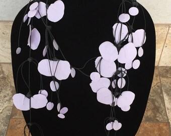 """Rubber Necklace-"""" Mixed Petals""""- Lilac"""