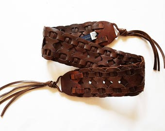 Brown leather belt, wide belt, braided leather belt, boho belt, women's gift,