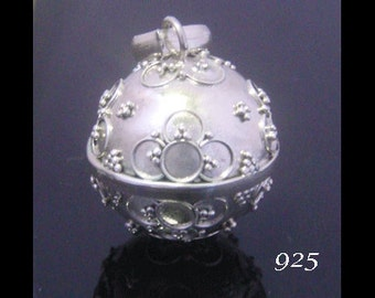 Sterling Silver Harmony Ball with Traditional Balinese Symbols on the Solid 925 Case | Bola Necklace, Angel Caller, Pregnancy Gifts 004