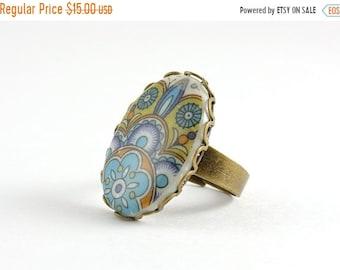 20%OFF SALE Vintage Mexican Tile Ring, Blue Flower Ring