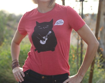 Cat T-Shirt, Ukulele Cat T-shirt, Women's T-Shirt, Relaxed Fit Red tee