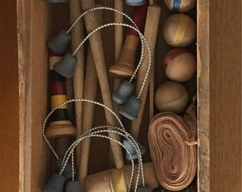 Antique Table Top Croquet Set in Original Box- Early 1900's Table Croquet Set in Wooden Crate