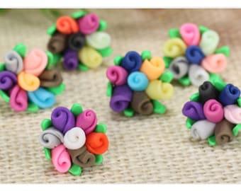 set of 3 cabochons form fimo mini bouquet