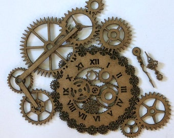 Steampunk clock and gear with clock hands Laser Cut Chipboard FREE SHIPPING! in US