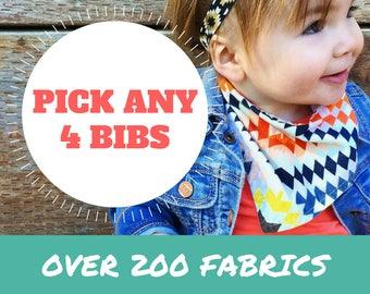 Bandana Bib Set - PICK ANY 4 ||| bibdana, dribble bib, bandana bib sale, bibdanna, baby bibdana, baby shower, baby bandana, baby bandana bib