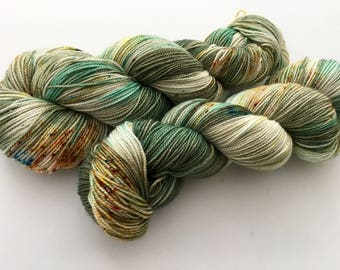 Hand Dyed Yarn--Sea Jasper on Superwash 80 Merino/20 Nylon Sock 2Ply Twist