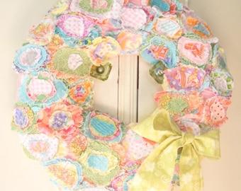 Spring Wreath, Fabric Flower Wreath