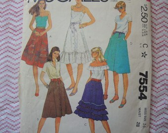 vintage 1980s McCalls sewing pattern 7554 misses' skirts UNCUT size 14