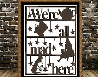 We re All Mad Here Alice In Wonderland Cross Stitch Pattern in PDF for Instant Download