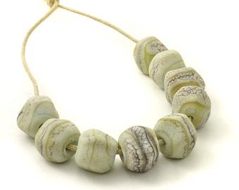 Beachy Nugget Beads | Tumbled Green Lampwork Glass Beads | Stone Green Bead Set | Handmade Beads | UK SRA | Artisan beads