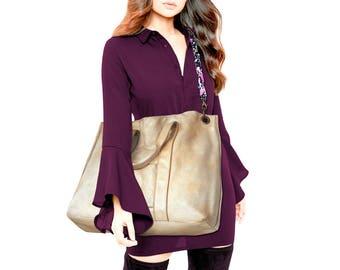 Large leather Tote handbag 80s weekender bag gold tan Leather Shopping Bag  shoulder bag oversize large tote beige big tote