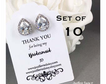 Set of 10 Bridesmaid Earrings Stud Earrings Cubic Zirconia Sterling Silver Earrings Bridesmaid Gift Bridal Earrings Mother of Bride Gift