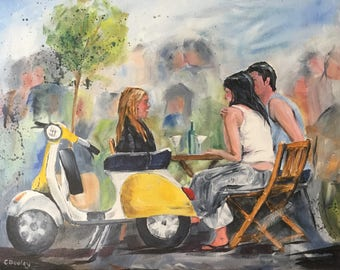 Original acrylic painting entitled 'Afternoon Rendezvous '.