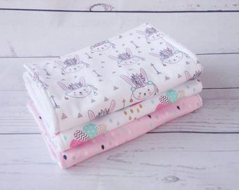 Burp cloths, set of 3, baby girl burp cloth, Indian bunny, pink clouds, rain drops, baby gift, baby girl gift, baby shower gift, baby gift