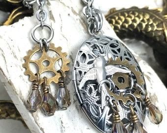 Steampunk Essential Oil Diffuser Locket, Artisan Stainless Steel Dove & Brass Gear Charm Aromatherapy Necklace, Cosplay Art Nouveau Jewelry