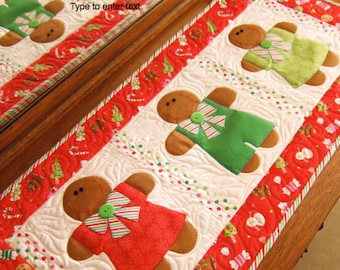 Gingerbread Treats PDF Christmas Table Runner Pattern by Cleo and Me