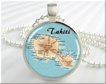 Tahiti Map Pendant, Resin Charm, French Polynesian Tahiti Island Archipelago, Map Necklace, Gift Under 20, Round Silver, Map Charm 642RS