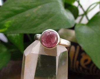 Pink Tourmaline Sterling Silver Ring - Size 5.5