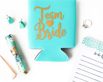Aqua Blue Team Bride Drink Coolers | Bachelorette Party Drink Cooler Favors, Wedding Bachelorette Team Bride Favors, Can Beer Bottle Holders